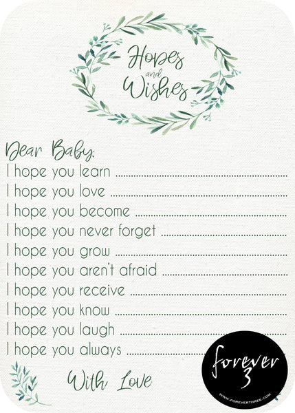 Baby Shower - hopes and wishes for baby - evergreen