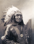 Half length picture of Oglala Sioux Chief He Dog, who fought in the Great Sioux War 1876-77 alongside Sitting Bull.