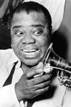 Louis Armstrong Checks Out His Trumpet