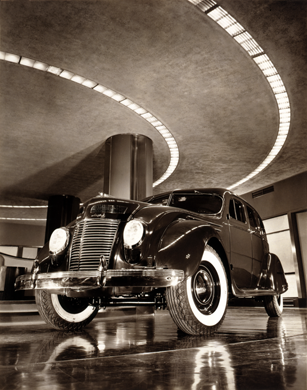 The 1937 Chrysler Airflow four-door sedan on display in the showroom of the Chrysler Building, New York City, N.Y
