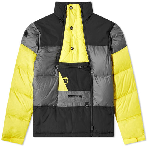 THE NORTH FACE STEEP TECH DOWN JACKET, GREY, TNF BLACK & YELLOW