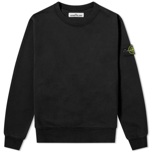 STONE ISLAND Garment Dyed Crew Neck Sweatshirt, Black