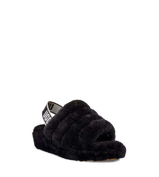 UGG WOMENS FLUFF YEAH SLIDE , BLACK