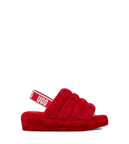 UGG WOMENS FLUFF YEAH SLIDE , RIBBON RED