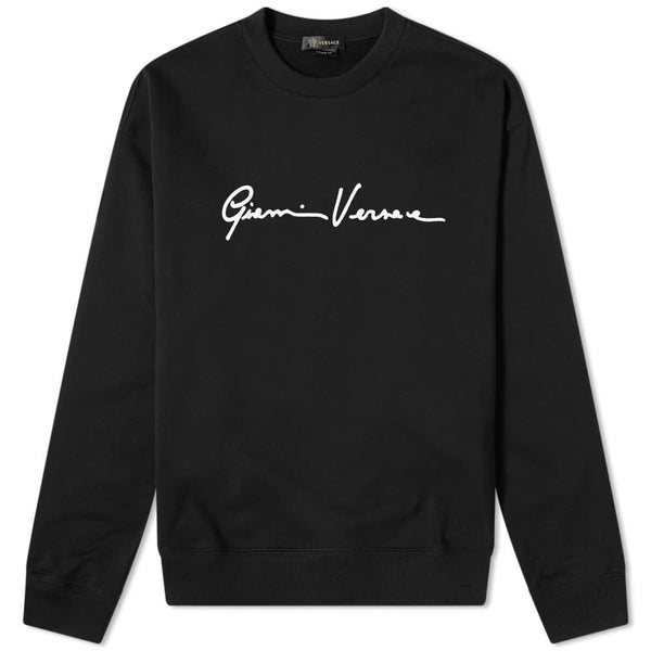 VERSACE GIANNI SIGNATURE CREW NECK SWEATSHIRT, Black