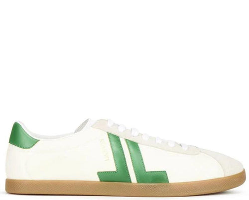 LANVIN Low Top Nylon Sneaker, ECRU/ Green