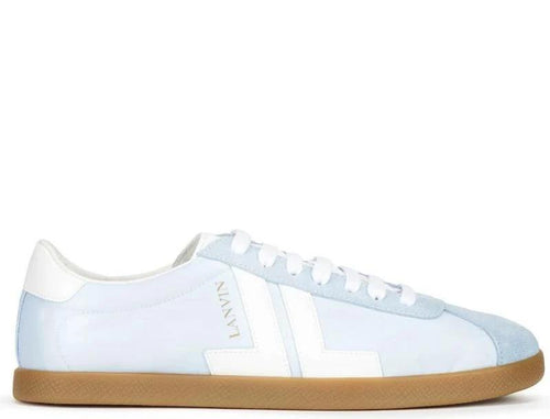 LANVIN Low Top Nylon Sneaker, Light Blue/ White