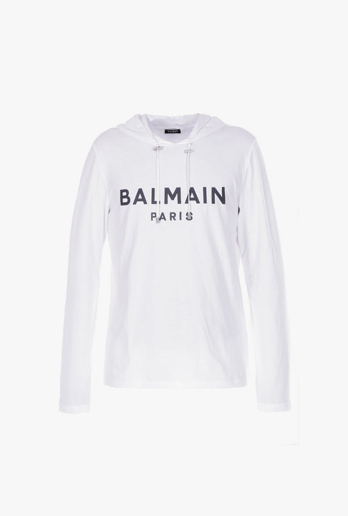 BALMAIN Hooded Long Sleeve Shirt, White