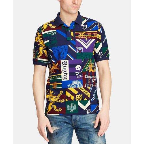 POLO RALPH LAUREN Classic Fit Varsity Blocked Mesh Cotton Polo, Collegiate Patchwork