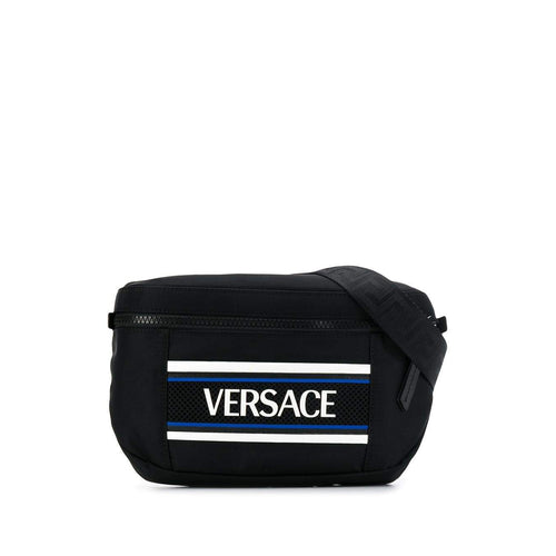 VERSACE Contrast Logo Belt Bag, Black