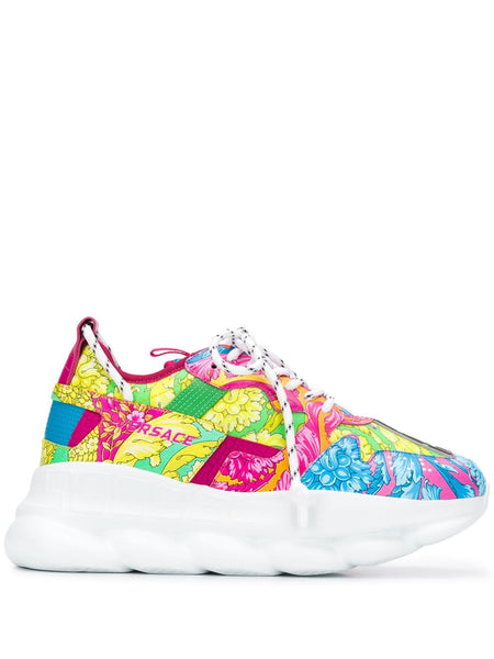 VERSACE Floral Chain Reaction Sneakers, Multi