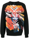 BALMAIN Printed Paint Logo Sweatshirt, Black