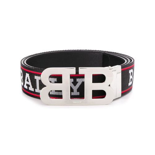 BALLY Logo Print Belt, Black