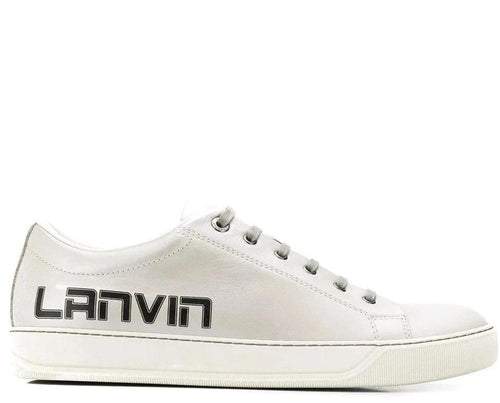 LANVIN Logo Print Low-Top Sneakers, Metallic Grey