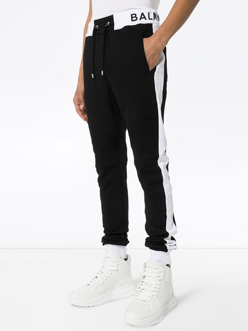 BALMAIN Contrast Panel Logo Rib Sweatpants, Black