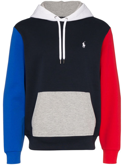 POLO RALPH LAUREN Color-Block Logo Embroidered Hoodie, Navy/ Multi