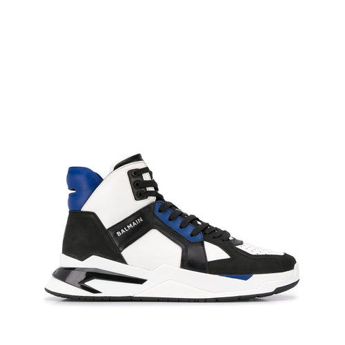 BALMAIN Color-Block High-Top Sneakers, White/ Cobalt Blue