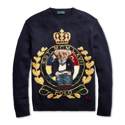 POLO RALPH LAUREN Royal Bear Sweater, Navy Crest Bear