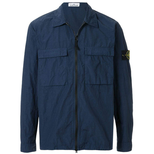 STONE ISLAND Garment Dyed Pocket Zip Overshirt, Marine Blue