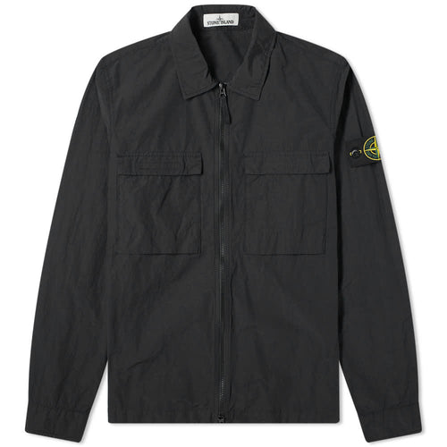 STONE ISLAND STONE ISLAND Garment Dyed Pocket Zip Overshirt, Black