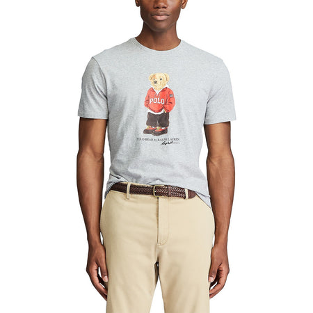 POLO RALPH LAUREN Classic Fit Denim Bear T-Shirt, Heather Grey
