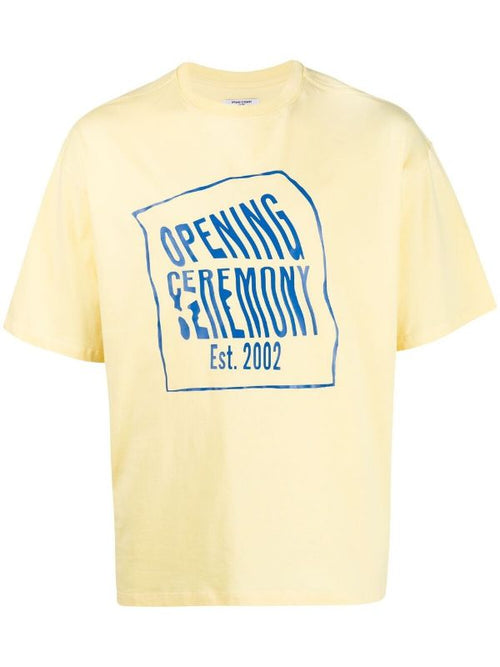 OPENING CEREMONY WARPED LOGO REGULAR T-SHIRT, LEMON COBALT
