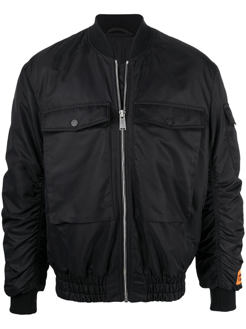 HERON PRESTON NYLON BOMBER JACKET, BLACK
