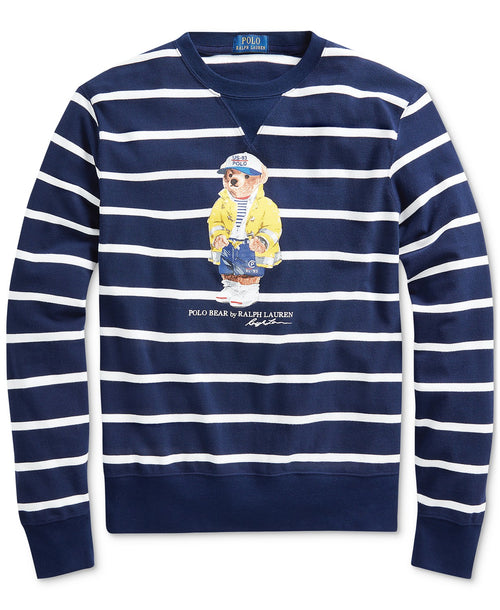 POLO RALPH LAUREN CP-93 Bear Mesh L/S T-Shirt, Navy/ White