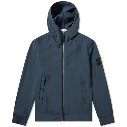 STONE ISLAND Lightweight Soft Shell-R Hooded Jacket, Blue Marine