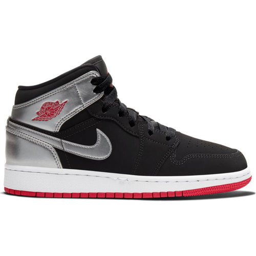 AIR JORDAN 1 MID (GS) BLACK/GYM RED-METALLIC SILVER-WHITE