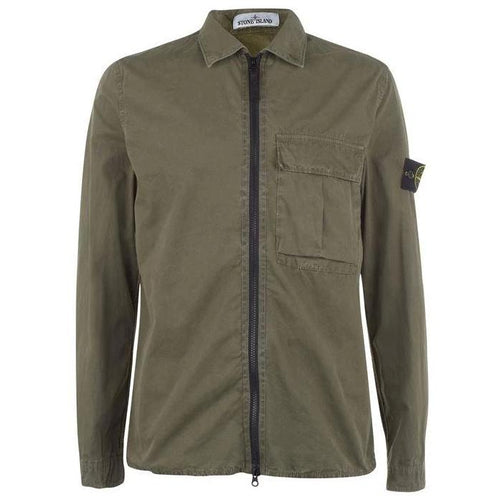 STONE ISLAND Dyed Canvas Overshirt Jacket, Olive Green