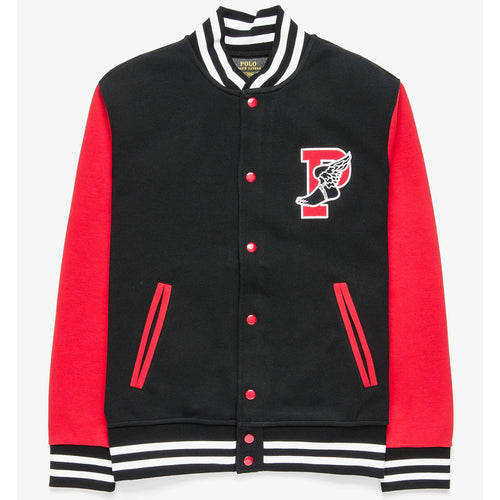 POLO RALPH LAUREN P- Wing Double Knit Tech Varsity Jacket, Black/ Red