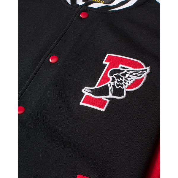 bbe25a9b POLO RALPH LAUREN P- Wing Double Knit Tech Varsity Jacket, Black/ Red