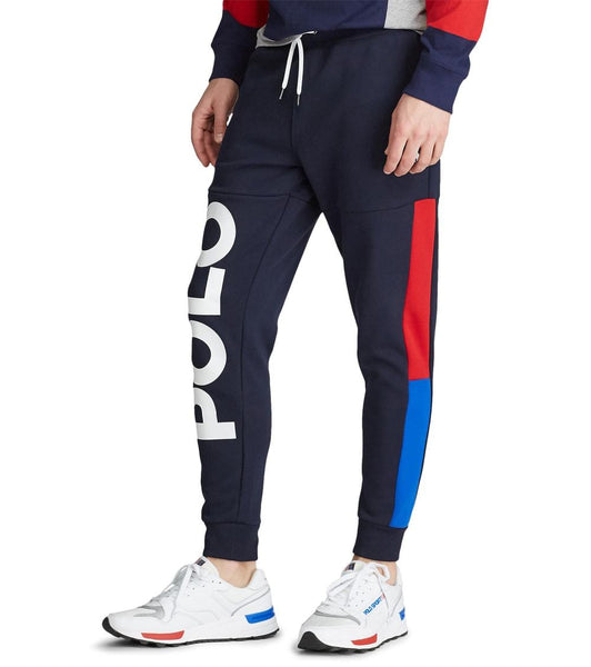 POLO RALPH LAUREN Double Knit Fleece Logo Jogger Pants, Navy