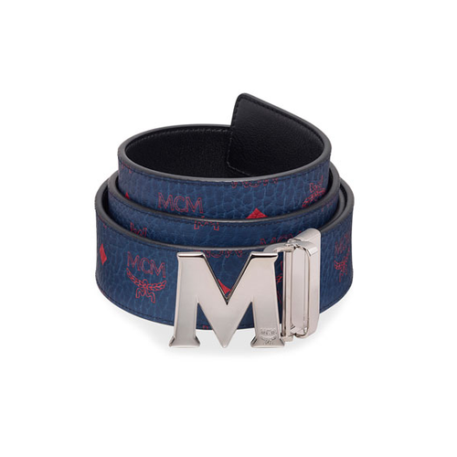 MCM Claus Reversible Monogrammed Belt, Deep Blue Sea