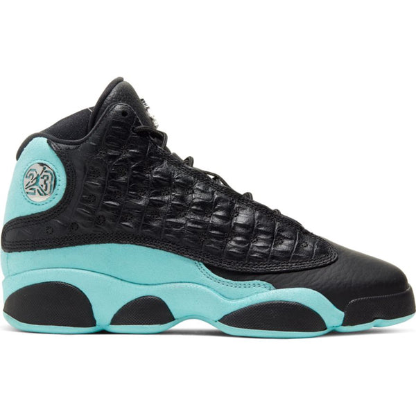 AIR JORDAN 13 RETRO (GS) BLACK/METALLIC SILVER-ISLAND GREEN