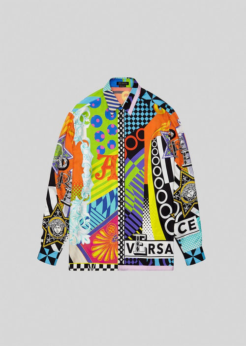 VERSACE POP TEMPLE PRINT SILK SHIRT, Multi