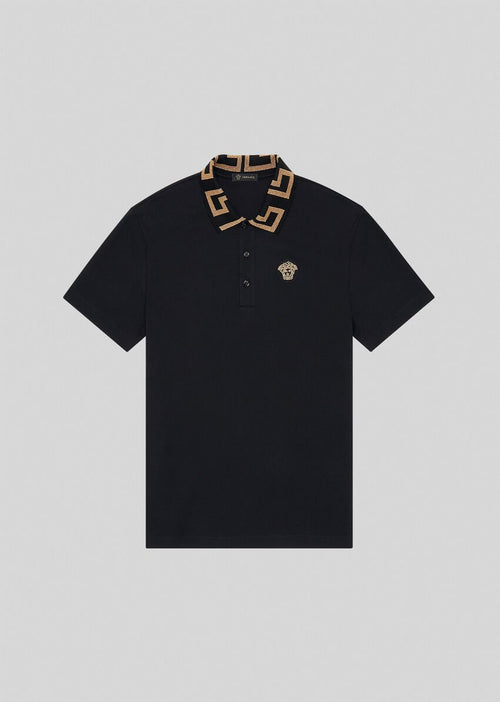 VERSACE GRECA COLLAR POLO SHIRT,Black