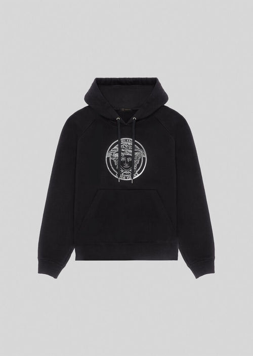 VERSACE EMBROIDERED MEDUSA HOODIE, Black