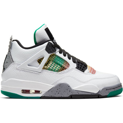 W AIR JORDAN 4 RETRO WHITE/BLACK-UNIVERSITY RED-LUCID GREEN