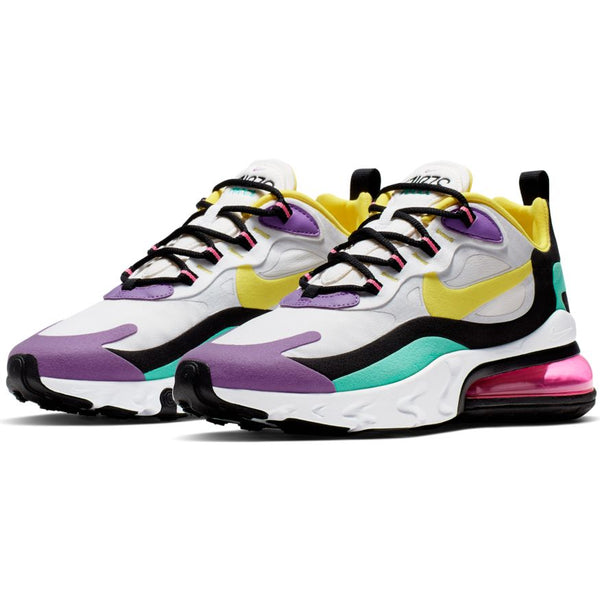 NIKE AIR MAX 270 REACT WHITE/DYNAMIC YELLOW-BRIGHT VIOLET