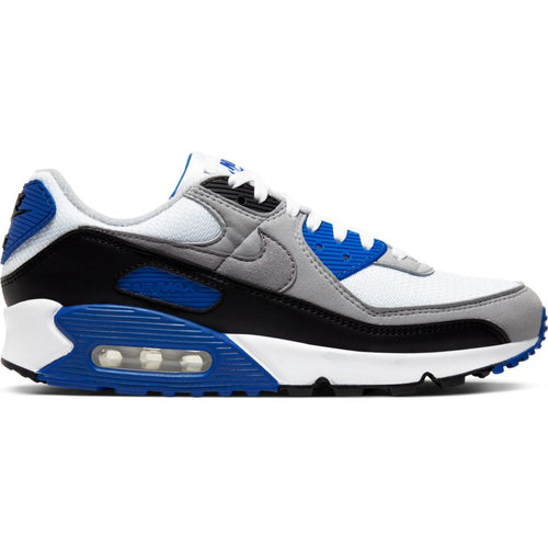 NIKE AIR MAX 90 WHITE/PARTICLE GREY-HYPER ROYAL-BLACK