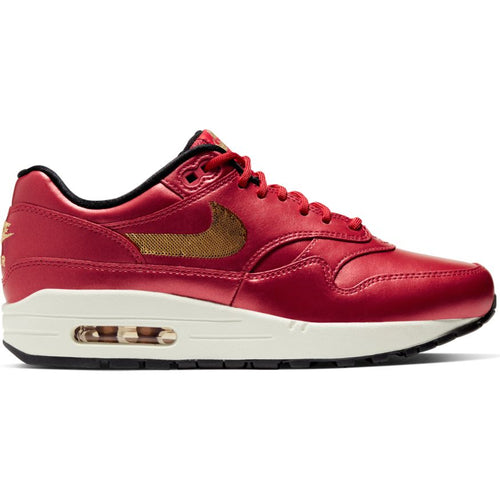 W NIKE AIR MAX 1 ICON CLASH UNIVERSITY RED/METALLIC GOLD-BLACK