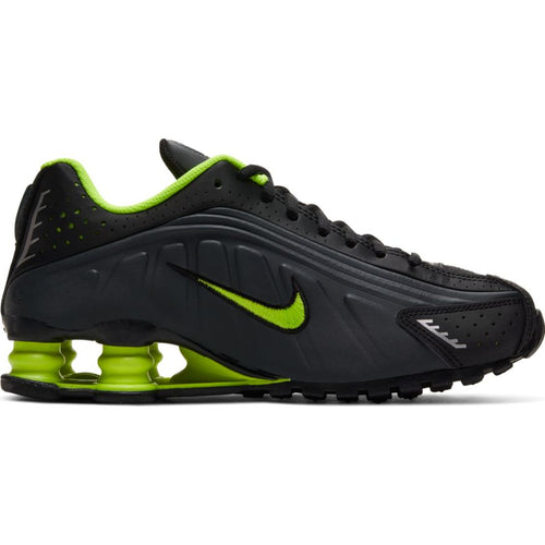 NIKE SHOX R4 (GS) BLACK/VOLT-ANTHRACITE-METALLIC SILVER