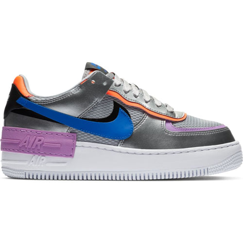 W NIKE AIR FORCE 1 SHADOW METALLIC SILVER/RACER BLUE-FUCHSIA GLOW