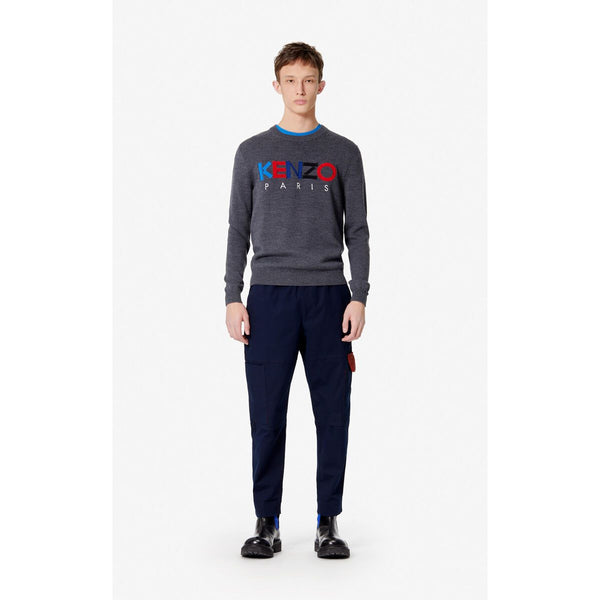 KENZO Logo Embroidered Sweater, Anthracite