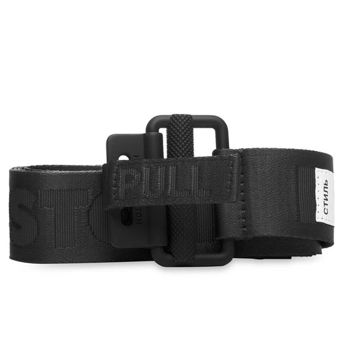 HERON PRESTON TAPE BELT 4CM CLASSIC BUCKLE, BLACK
