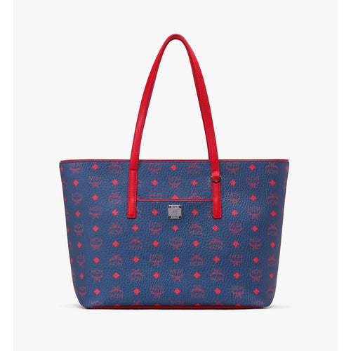 MCM Anya Shopper in Visetos, Deep Blue Sea