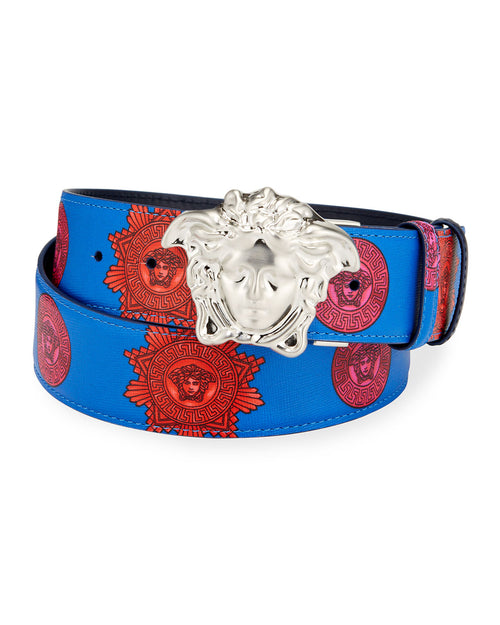VERSACE PRINTED MEDUSA HEAD LEATHER BELT, Multi