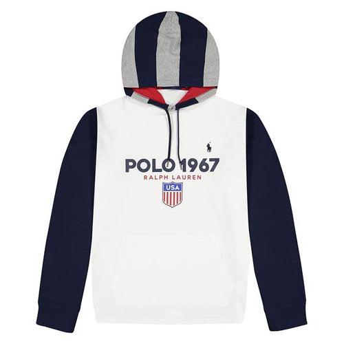 POLO RALPH LAUREN Hooded Jersey, White/ Multi